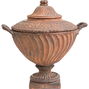 Antique 19th century Continental Neoclassical Grand Tour Terracotta Urn or Vase & Cover with Snake Handles