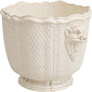 Antique 18th century French Creamware Earthenware Cachepot Planter Wine Bottle Cooler or Seau a Bouteille in the Manner of Saint-Cloud with Grotesque Lion Mask Handles