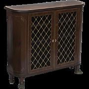 Antique 19th century English Regency Inlaid Walnut Dwarf Bookcase Side Cabinet with Lion's Paw Feet