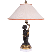 Antique 19th century Neoclassical French Patinated & Gilt Bronze Satyr or Putti Cherub Lamp on White Marble Base