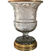 Large Antique 19th century Anglo Irish Cut Crystal Glass Vase Urn Mounted with French Gilt Bronze Collar & Mirrored Base