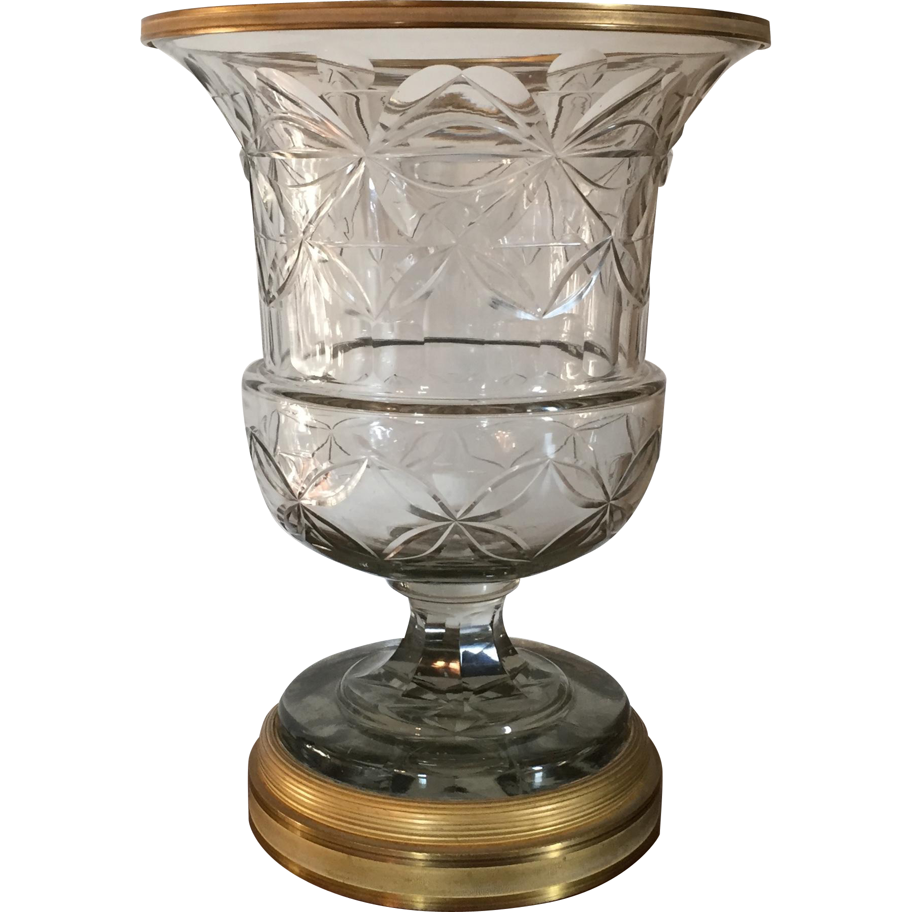 Large Antique 19th Century Anglo Irish Cut Crystal Glass Vase Urn From Classictradition On Ruby Lane