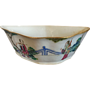 Antique 19th century Chinese Famille Rose Porcelain Dish or Bowl in the Shape of a Bat Decorated with Immortals in Landscape