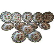 Set 12 Antique Early 19th century Mason's Ironstone Soup Plates Bowls Chinese Table & Flower Pot Pattern 1820