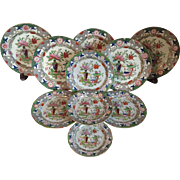 Set 10 Antique Early 19th century Mason's Ironstone Dinner Plates Chinese Table & Flower Pot Pattern 1820