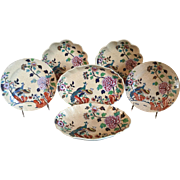 Set 6 Antique Early 19th century Spode Peacock & Peony Dessert Dishes & Plates