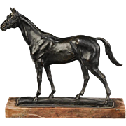 Gaston d'Illiers (1876 - 1952) Bronze Horse Mounted on Marble Base