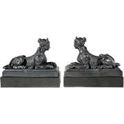 Pair Large Antique Early 19th century Wedgwood Black Basalt Grecian Sphinxes 1800