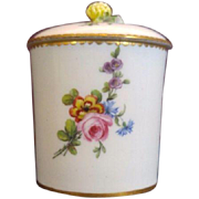 Large Antique 18th century French Sevres Porcelain Urn Jar Pot & Cover Decorated with Hand Painted Flower Sprig