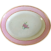 Antique 18th century Chinese Export Porcelain Oval Platter with Bright Pink Band and Hand Painted Flowers in Famille Rose Palette - Christie's Provenance