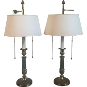 Pair Antique Early 19th century French Empire Gilt Bronze Candlesticks as Bouillotte Desk Lamps with White Tole Shades