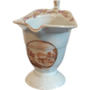 Antique Early 19th century Chinese Export Porcelain Helmet Shape Cream Jug for the American Federal Market with Sepia Landscape Reserve 1800 - 1810