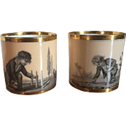 Pair Antique 18th century Paris Porcelain Dihl et Guerhard Coffee Can Cups Decorated with Children at Play en Grisaille on an Apricot Ground 1790 - 1800