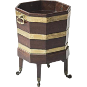 Antique 18th century George III Brass Bound Octagonal Mahogany Bucket Form Cellarette or Planter on Stand