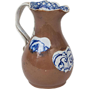 Antique 18th century English Leeds Pottery Jug with Reserves of Blue Decoration on a Chocolate Brown Ground & Strap Handle in the Chinese Taste