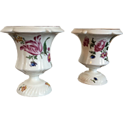 Pair Small Antique 18th century French Mennecy Porcelain Rococo Vase Urns with Hand Painted Flowers Marked DV 1760