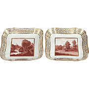 Pair Coalport Porcelain Square Porcelain Dishes with Hand Painted Sepia Landscapes and Gilt Greek Key Border 1810