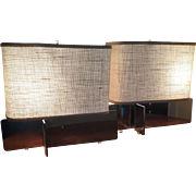 Pair Modernist Mid Century Design Chrome & Steel Lamps with Rectangular Burlap Shades for Desk or Table Hansen Quality