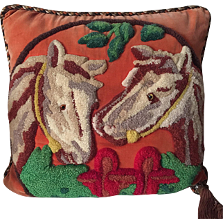 Antique 19th c. Victorian Needlework Stumpwork Horse Pillow with Braided Silk Cord & Tassel