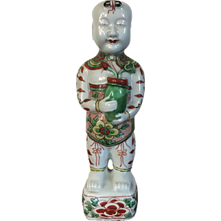 Antique 19th century Chinese Porcelain Ho Ho Boy Figure in Wucai / Famille Vert Glaze in the Kangxi Taste