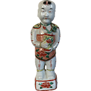Antique 19th century Chinese Porcelain Ho Ho Boy Figure in Wucai / Famille Vert Glaze in the Kangxi Taste