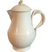 Antique 18th century English Creamware Water Jug Pitcher with Face Spout, Strap Handle and Floral Cover Worcester Shape