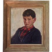 Hulda Parton Walton (1879 - 1962) Portrait of a Young Boy Oil on Canvas in Period Frame Pre-War 1930's
