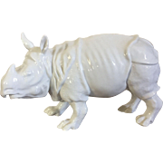 Antique 19th century Continental Porcelain Blanc de Chine White Model of a Rhinoceros