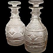Good Pair Antique 19th century English Anglo Irish George III Regency Cut Crystal Wine Whiskey Spirit Decanters