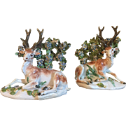 Pair Antique 18th century Derby Porcelain Models of Recumbent Deer - Stag, Buck at Lodge