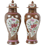 Pair Antique 18th century Chinese Export Porcelain Batavia Baluster Shape Vases & Lids with Famille Rose Tobacco Leaf Reserves on a Brown Cafe au Lait Ground