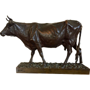Large Antique 19th century French Animalier Bronze Sculpture of a Cow