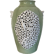 Antique Art Deco Period Chinese Export Celadon Porcelain Vase Formerly a Lamp with Blanc de Chine Pierced Prunus & Bird Panels; Bat Handles