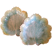 Pair Antique 18th century English Davenport Creamware Pearlware Leaf Plates Dishes