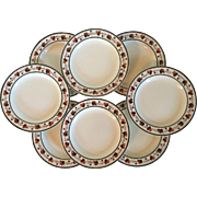 Set 8 Antique Early 19th century English Wedgwood Pearlware Creamware Plates Dishes with Grape Vine Border