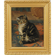 Antique 19th century Victorian Oil on Canvas Portrait of a Tiger Cat or Kitten Sitting on an Oriental Carpet