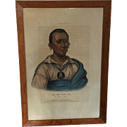 Large Folio 19th c. McKenney & Hall Hand Colored Print of Wat - Che - Mon - Ne, An Ioway Chief, 1838 from Indian Tribes of North America