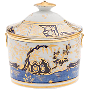 Antique Early 19th century English Coalport Porcelain Sucrier Sugar Bowl or Box in the Rock & Tree Imari Pattern 1805