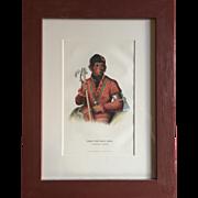 Antique 19th c. McKenney & Hall Hand Colored Native American Print of Tshi - Zun - Hau -Kau - A Winnebago Warrior 1855 Indian Tribes of North America