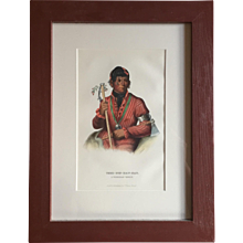 Antique 19th c. McKenney & Hall Hand Colored Native American Print of Tshi - Zun - Hau -Kau - A Winnebago Warrior 1855 Indian Tribes of North America