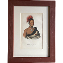 Antique 19th c. McKenney & Hall Hand Colored Native American Print of Pes - Ke - Le - Cha - Co - A Pawnee Chief - 1855 Indian Tribes of North America