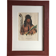 Antique 19th c. McKenney & Hall Hand Colored Native American Print of Kish - Ke - Kosh - A Fox Brave - 1855 Indian Tribes of North America