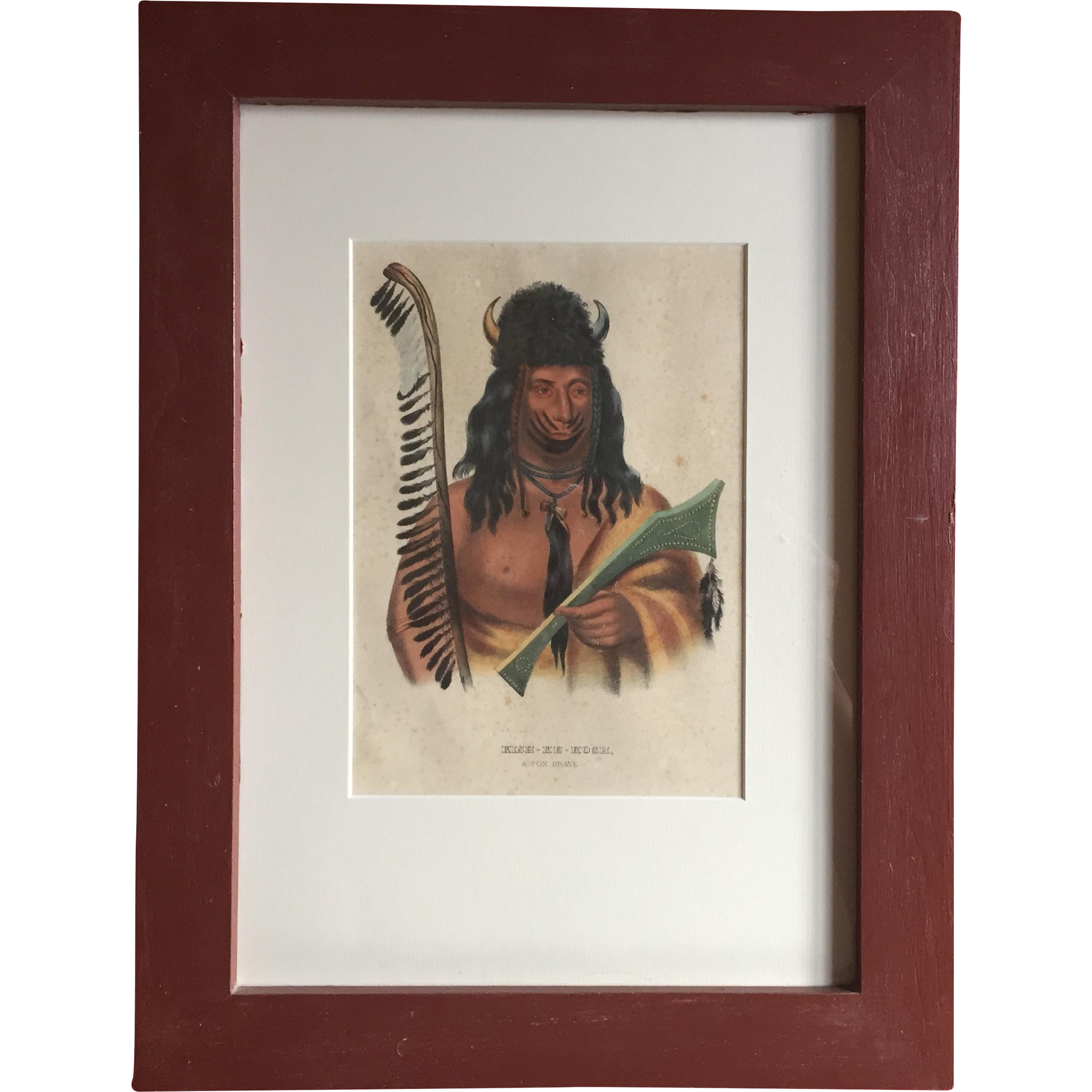 McKenney Hall Hand Colored Native American Print Of Kish