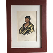 Antique 19th c. McKenney & Hall Hand Colored Native American Print of Stum - A - Nu - A Flat Head Boy - 1855 Indian Tribes of North America