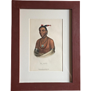 Antique 19th c. McKenney & Hall Hand Colored Native American Print of Wa - Kawn - A Winnebago Chief - 1855 Indian Tribes of North America