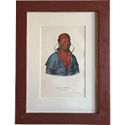 Antique 19th c. McKenney & Hall Hand Colored Native American Print of Payta - Kootha - A Shawnoe Warrior - 1855 Indian Tribes of North America