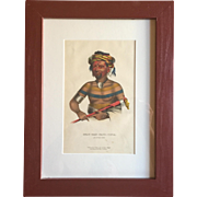 Antique 19th c. McKenney & Hall Hand Colored Native American Print of Shau - Hau - Napo - Tinia - An Ioway Chief - 1855 Indian Tribes of North America