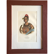 Antique 19th c. McKenney & Hall Hand Colored Native American Print of Ma - Has - Kah - An Ioway Chief - 1855 Indian Tribes of North America