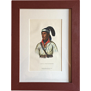 Antique 19th c. McKenney & Hall Hand Colored Native American Print of Apauly Tustennuggee - 1855 Indian Tribes of North America