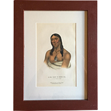 Antique 19th c. McKenney & Hall Hand Colored Native American Print of A - Na - Cam - E - Cish - Ca - A Chippeway Chief - 1855 Indian Tribes of North America